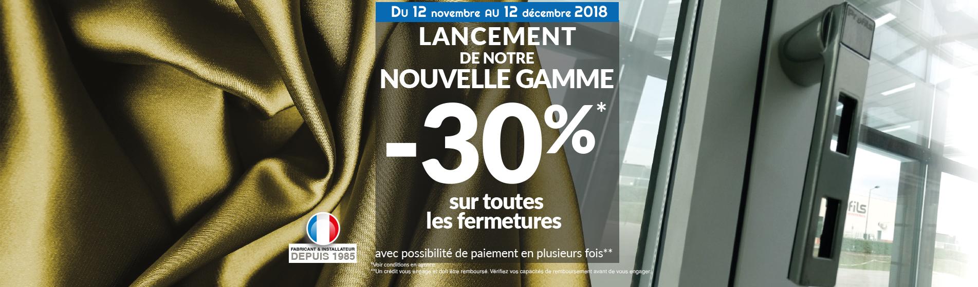 promotions 30% fermetures sam